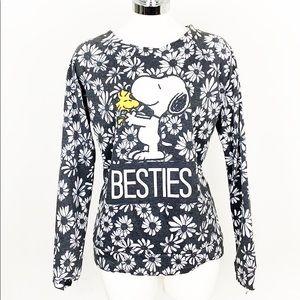 Black & White Besties Snoopy Floral Sweatshirt